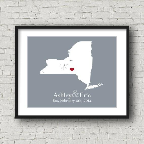 Wedding Gift Nyc : New York Art Print New York Print Wedding Gift Last Name Established ...