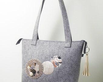 Handbag, bag Marina, bag felt, gray bag, handbag, shoulder carry bag with Pocket, unique piece
