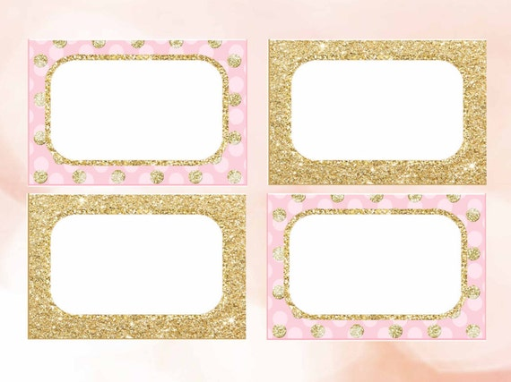 Editable Pink and Gold Food tent cards by DreamyPartyPrintable