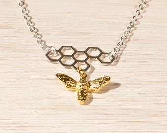 Bee Necklace, Bee & Honeycomb Necklace, Bee pendant, honeybee in Gold/Silver mix, gifts for her