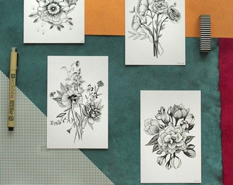 Flower Ink Drawing, 4x6 Floral Prints- Set of 4