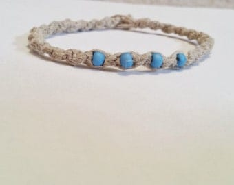 Hemp Bracelet with Four Blue Beads