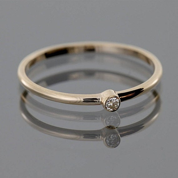 Tiny diamond ring tiny gold band thin diamond by for Tiny wedding ring