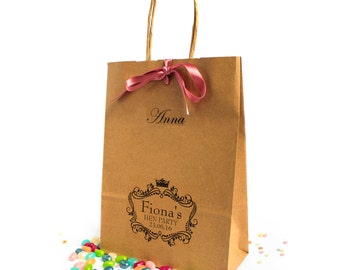Hen Party Bags ~ Medium Personalised Hen Party Favour Bag ~ Kraft Paper Bag ~ Gift Bag ~ Hen Do ~ Ribbon Bow ~ Mini Bag ~ Brown Paper Bag