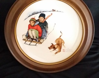 Norman Rockwell Collector Plate - Gorham Fine China - 1972 Limited Edition - Winter - with Vintage Bard Wood Frame
