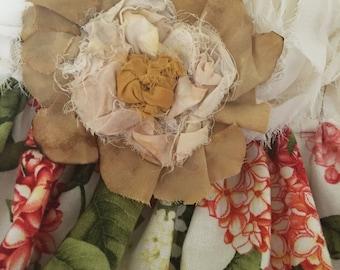 Vintage flower clip, handmade flower, vintage style clip, hippy flower clip, hair flower, hair accessories, cream flower clip, flower girl