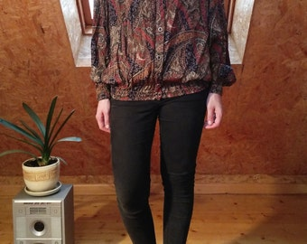 Vintage authentic abstract loose silk feel shirt