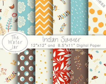 Digital Paper Pack SEAMLESS Indian Summer, Website & Blog backgrounds, Project Life, Instant Download Commercial Use