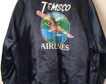 Vintage Insulated Satin Baseball Jacket -Temsco Airlines XL