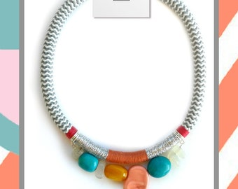 rope necklace with stones