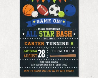 SPORTS Birthday Invitation. All Star DIGITAL Invite. Basketball. Football. Baseball. Rugby. Little Slugger Party. Chalkboard Birthday. SPO1