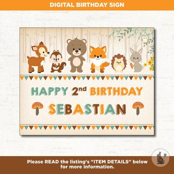 WOODLAND BIRTHDAY SIGN. Forest First Birthday Printable