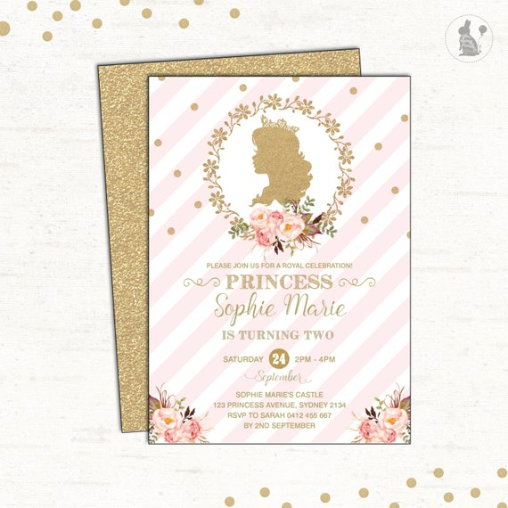 Princess invitation pink and gold birthday party invite royal il570xn filmwisefo