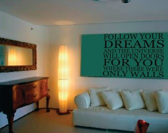 Wall Decor vinyl sticker / vinyl decal / wall decal / wall sticker inspirational quote - Follow your dreams
