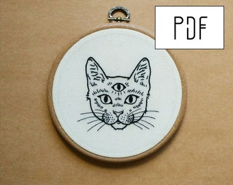 Three Eyed Cat Hand Embroidery Pattern (PDF modern embroidery pattern)