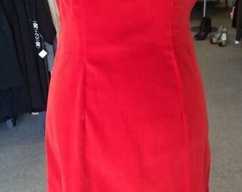 Vintage 1950's Classic Red Velvet Dress