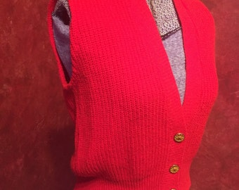 Candy Apple Red 1960s Knit Vest!/ Size-S