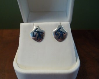 Vintage Turquoise and Silver Stud Earrings