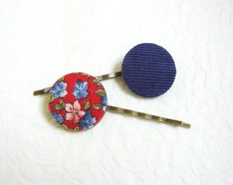 Blue Red hair pins Button hair pins Floral hair pin Blue barrettes Teen girls hair pins Floral hair pins Pinup Girl hair pins Gift under 10
