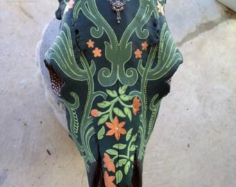 Floral Vine Cow Skull
