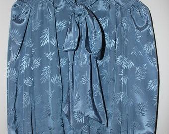 Alexandria 1980s Blue Bow Tie Blouse
