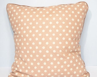 Cushion cover - pink Japanese fabric and white polka dots