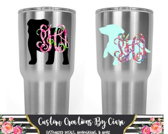 Lilly Dog Monogram Decal, Yeti Monogram Dog, Bulldog Decal, Dog Mom, Yeti RTIC Decal, Puppy Monogram / Dog Bowl Decal, Car Decal, Pom