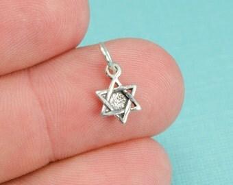 Sterling Silver Small Star Of David Bracelet Charm, Jewelry, Bar Mitzvah, .925 Silver, DIY Bracelet, (CHARM069)