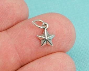 Sterling Silver Star Bracelet Charm, 5 Pointed Star, Space, Jewelry, .925 Silver, DIY Bracelet, (C197)
