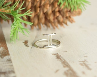 Gemini Ring, Silver Zodiac Ring, Sterling Silver 925 Rings, Horoscope Sign, Wire Wrap, Astrological Sign, Thumb Ring, Thumb Twins Ring