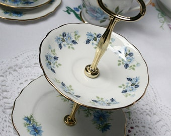 Charming 2 tier mini cake stand / dessert stand, trinket or jewelry display stand for a special tea party or a sweet gift