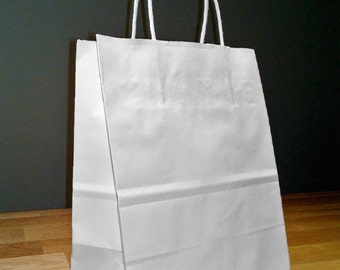 8x4x10 (approximate) Kraft White Paper Cub Shopping Gift Bags with Rope Handles