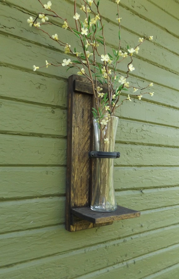 Rustic Farmhouse Wall Sconces : Rustic Wall Sconce. Wood Wall Sconce. Wall Vase Sconce. Vase