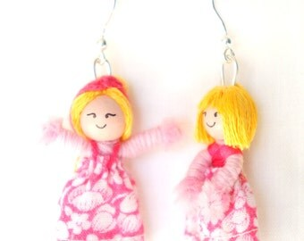Small dangling earrings dolls 4cm pink, asymmetrical - home cash