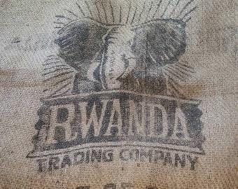 Rare burlap coffee bag Rwanda Trading Company burlap coffee bean bag sack gunny sack jute craft fabric Organic green biodegradable