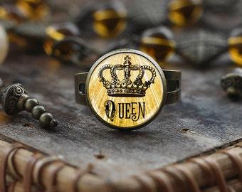 Queen crown ring, Tiara crown jewelry, vintage crown king's crown ring, princess jewelry, crown ring, Queen ring