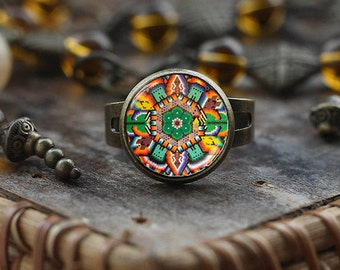 Mexican art ring, Mexican Folk Art, Mexican Jewelry, Mexican ring, Mexican Ornamental, antique brass ring, Boho ethnic ring