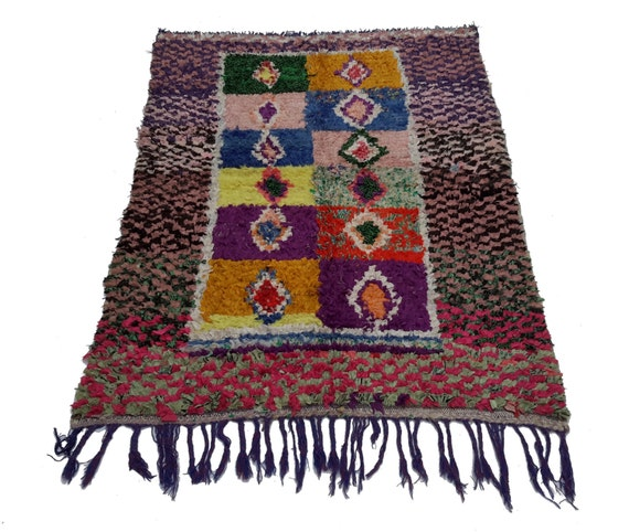 Vintage Moroccan Rug Woven Using Different Scraps Of Used