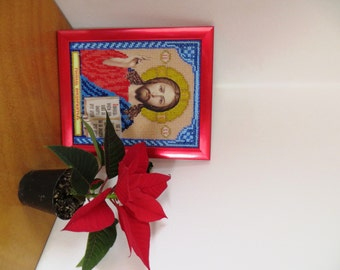 """Beads Embroided Icon """"God Almighty"""" Jesus Christ"""