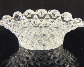 Vintage Clear Glass Hexagon Scalloped Ruffled Edge Candy Dish, Nut Bowl
