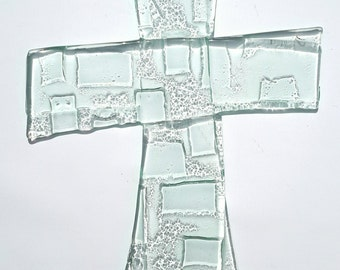 Transparent fused glass crucifix