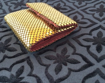 Vintage Whiting and Davis Wallet, Gold Mesh, 1960's Style, Compact Dress Wallet, Gift for Her, Christmas Gift, Birthday Gift,