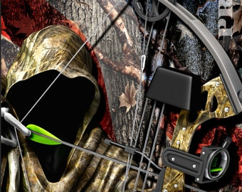 Bow Reaper Hunt Flag Camo LAMINATED Cornhole Wrap Bag Toss Decal Baggo Skin Sticker Wraps
