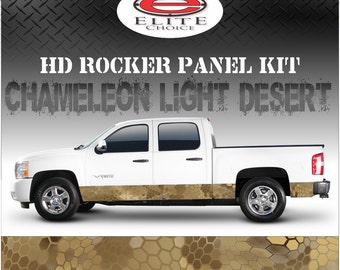"Chameleon Light Desert Camo Rocker Panel Graphic Decal Wrap Truck SUV - 12"" x 24FT"