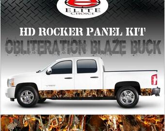 "Obliteration Blaze Buck Deer Camo Rocker Panel Graphic Decal Wrap Truck SUV - 12"" x 24FT"