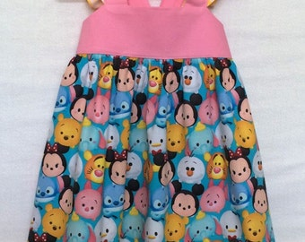 Tsum Tsum Dress, Disney Dress, Baby Girl Dress, Little Girls Dress, Tsum Tsum Party Dress, Flutter Sleeve Dress