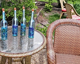 Wine Bottle Citronella Torches set of 4, Wine Bottle Tiki Torch, Wine Bottle Torches, Wine Bottle Decor, Patio Decor ,