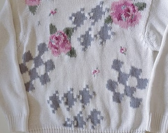 1990s Vintage Hand Embroidered Floral Knit Sweater