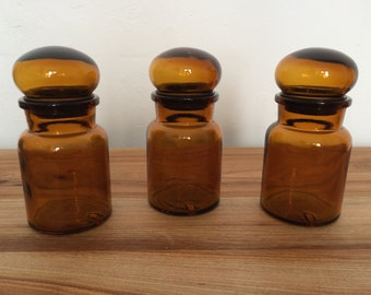 Pot apothecary glass vintage Lot of 3