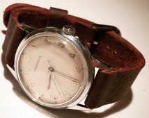 Vintage 1971 Caravelle watch with a hand made brown leather strap